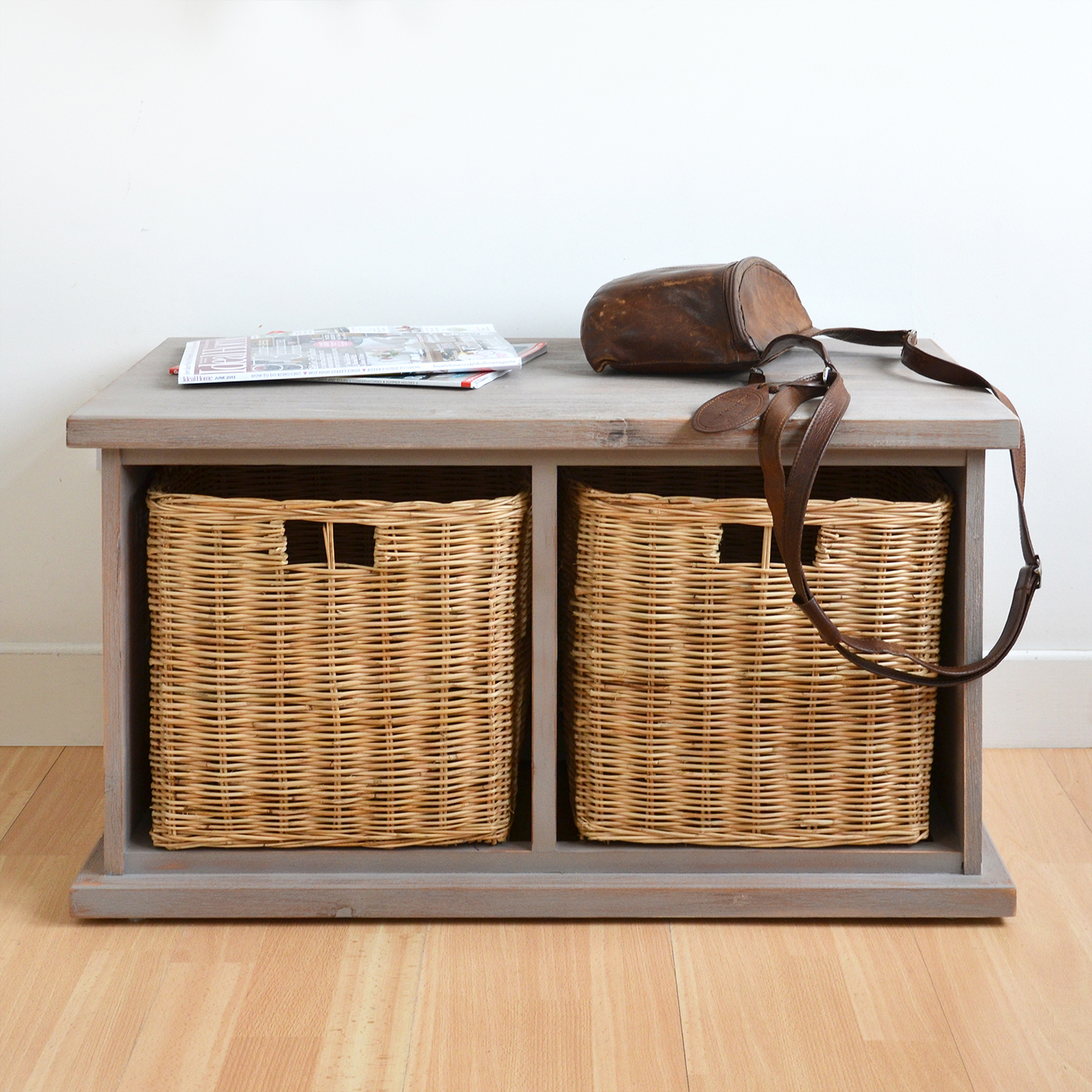 Acacia Storage Bench With Wicker Baskets Hallway Bench With 2 Storage Baskets Ebay