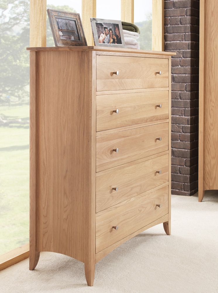 Edward hopper oak bedroom furniture 5pc set 2x bedside for Bedroom furniture chest of drawers
