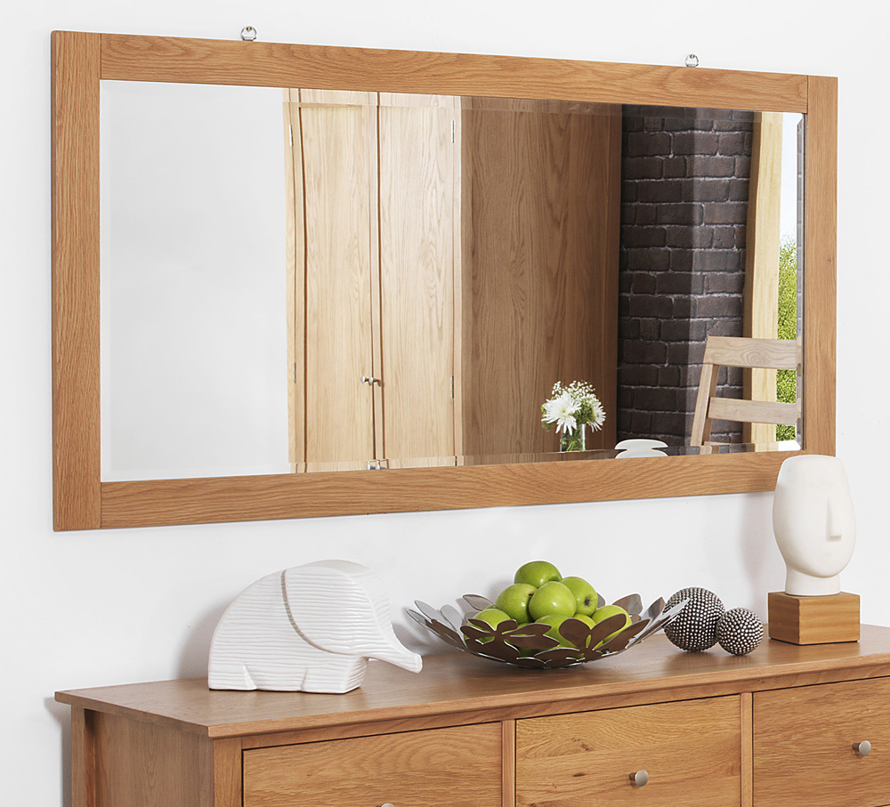 Edward hopper large oak wall mirror quality 140x70cm for Miroir 140 x 70