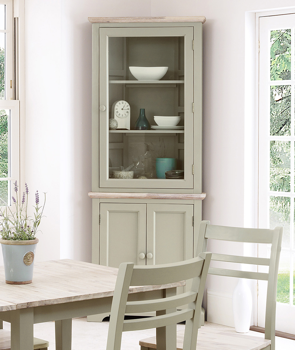 Florence corner glass display cabinet sage green kitchen for Brushed sage kitchen cabinets