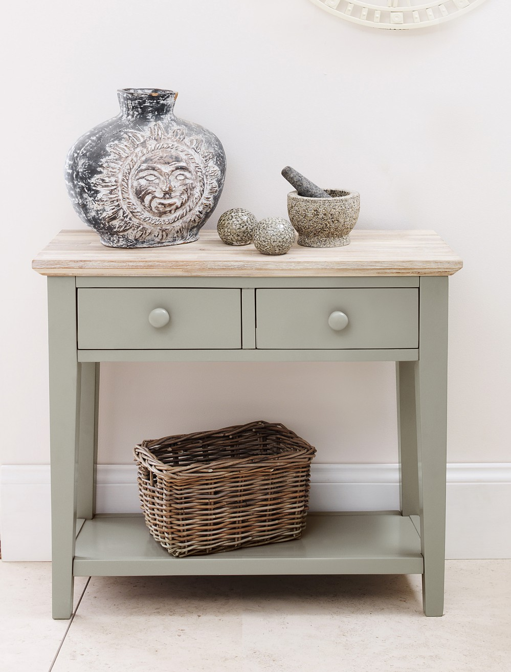 table kitchen hallway console table with 2 drawers sage green