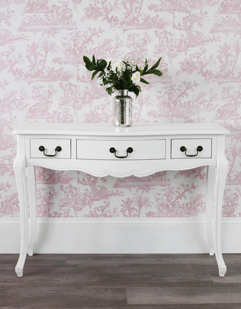 juliette white console table stunning shabby chic hallway table with 3 drawers ebay. Black Bedroom Furniture Sets. Home Design Ideas