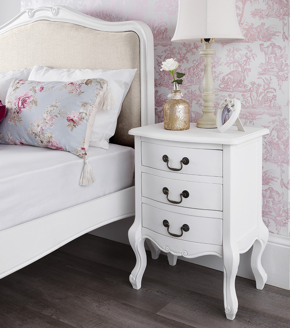 middle support bar and leg  wooden slats  upholstered headboard in pretty  biscuit colour material. FRENCH Furniture  Stunning White bedside table  chest of drawers