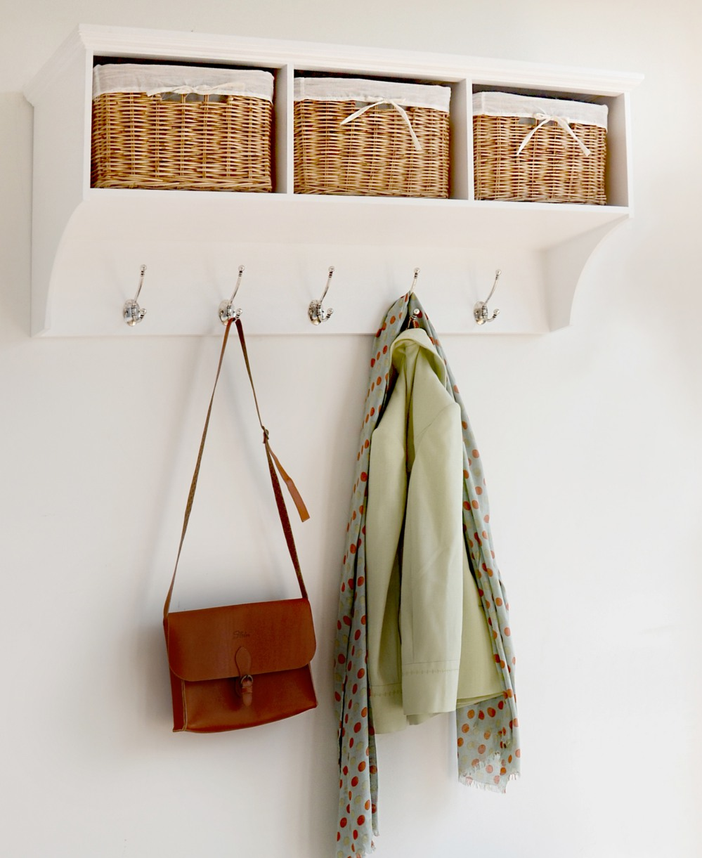 Coat Hanging Solutions tetbury white coat hanger with 3 natural wicker baskets, hallway