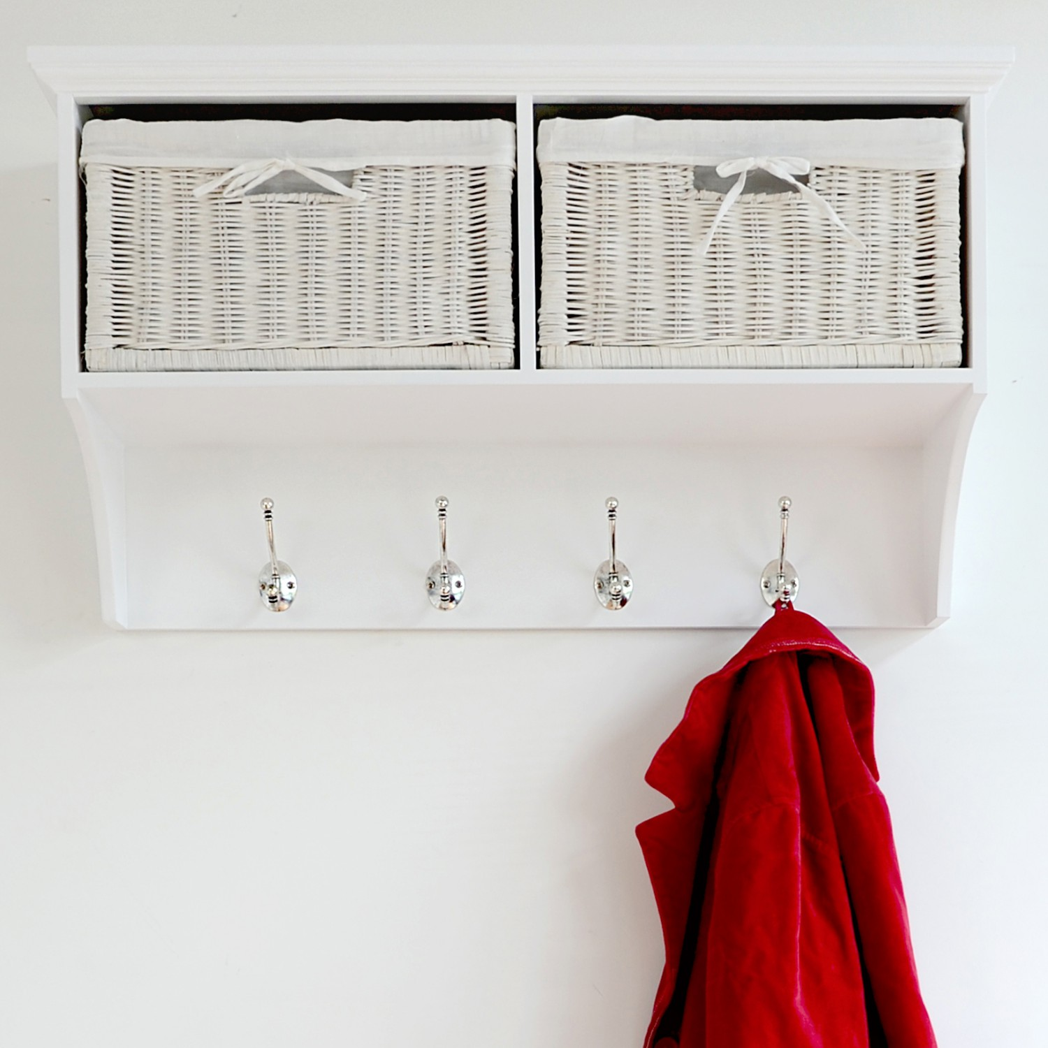 tetbury white coat rack with storage baskets, hallway hanging, Moderne deko